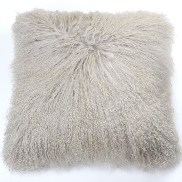 "Tibetan/Mongolian Lamb  Fur Pillow Cover - Smokey Gray (20"")"