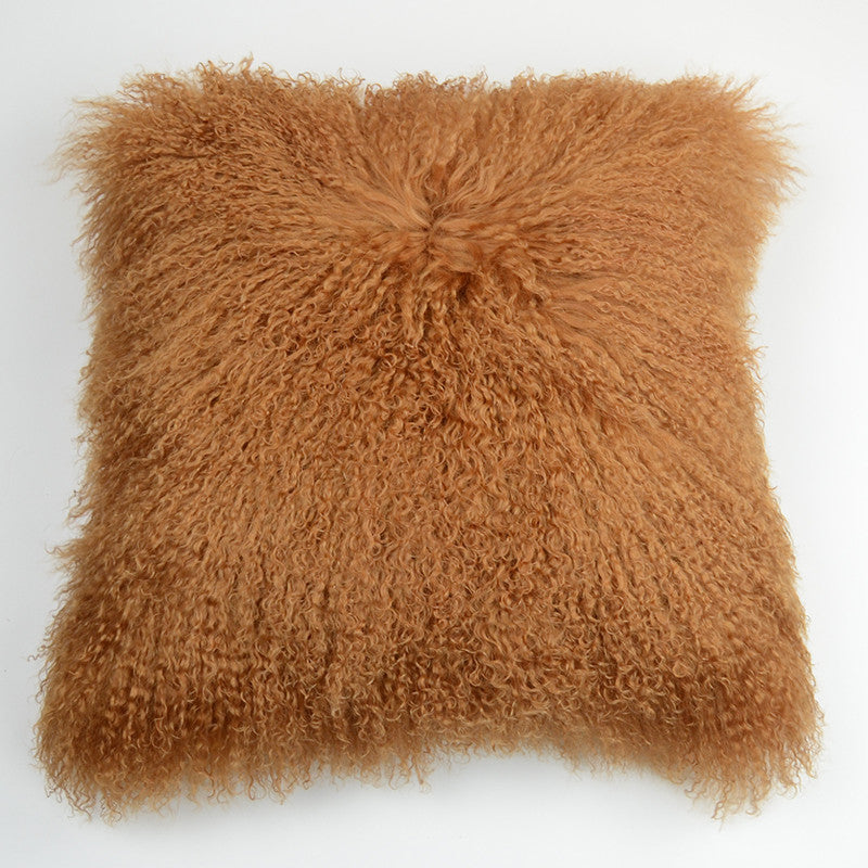 "Tibetan/Mongolian Lamb  Fur Pillow Cover - Camel (20"")"
