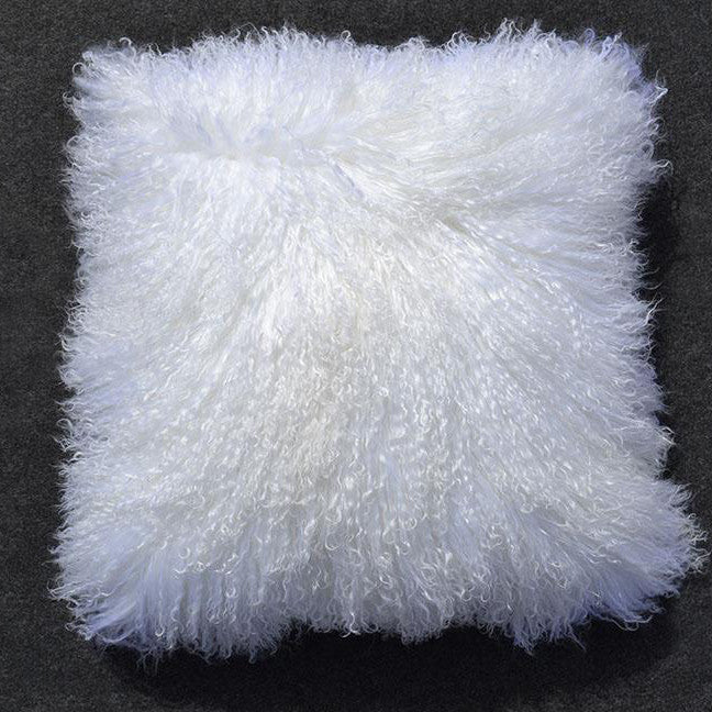 "Tibetan/Mongolian Lamb  Fur Pillow Cover - Bleached White (24"")"