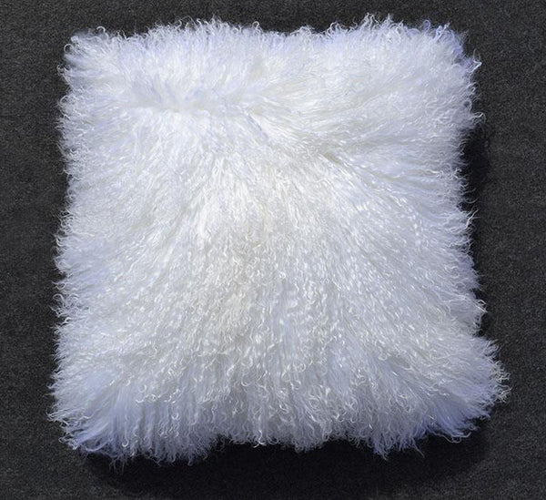 "Tibetan/Mongolian Lamb  Fur Pillow Cover - Bleached White (16"")"