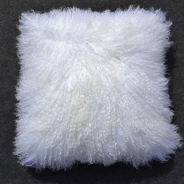 "Tibetan/Mongolian Lamb  Fur Pillow Cover - Bleached White (18"")"