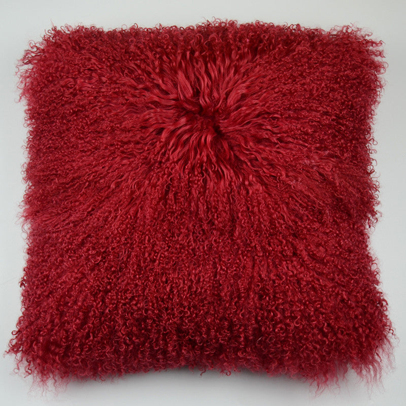 "Tibetan/Mongolian Lamb  Fur Pillow Cover - Burgundy (18"")"