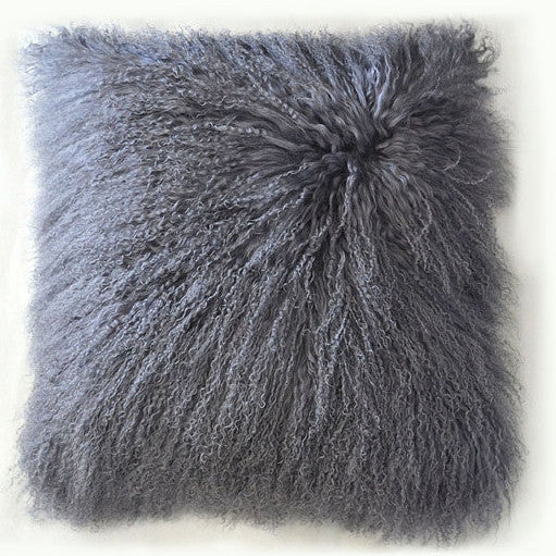 "Tibetan/Mongolian Lamb  Fur Pillow Cover - Light Grey (26"")"