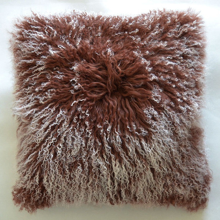 "Tibetan/Mongolian Lamb  Fur Pillow Cover - Frosted Brown (18"")"