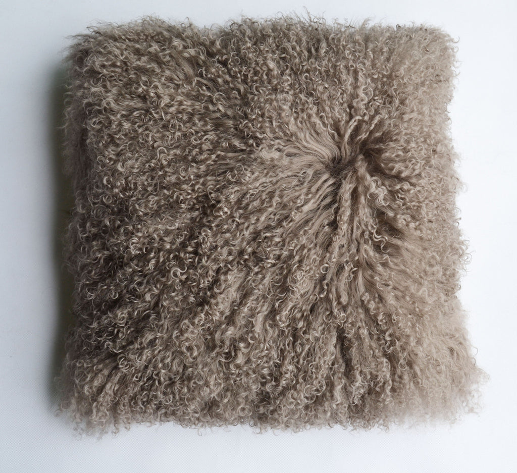 "Tibetan/Mongolian Lamb  Fur Pillow Cover - Khaki (16"")"