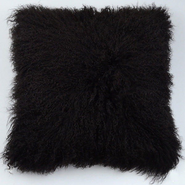 "Tibetan/Mongolian Lamb  Fur Pillow Cover - Dark Brown (22"")"