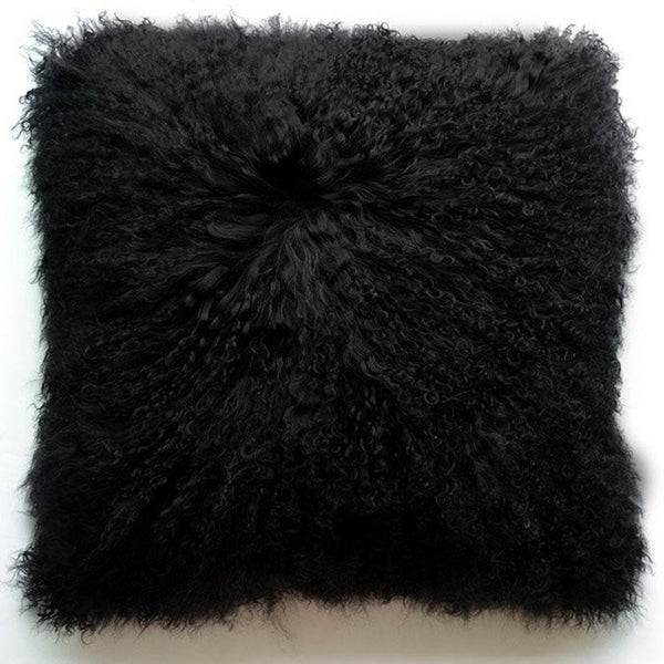 "Tibetan/Mongolian Lamb  Fur Pillow Cover - Black (18"")"