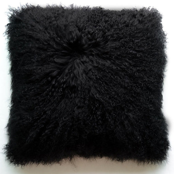 "Tibetan/Mongolian Lamb Fur Pillow Cover - Black (24"")"
