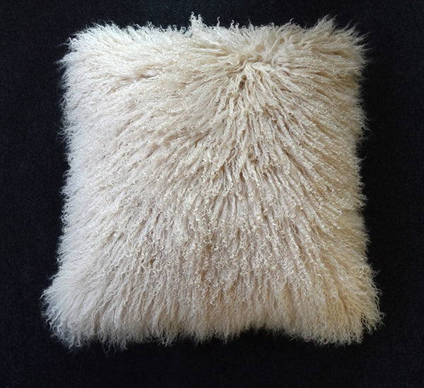 "Tibetan/Mongolian Lamb  Fur Pillow Cover - Light Beige (16"")"