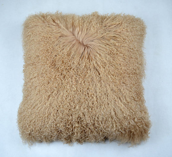 "Tibetan/Mongolian Lamb  Fur Pillow Cover - Dark Beige (16"")"