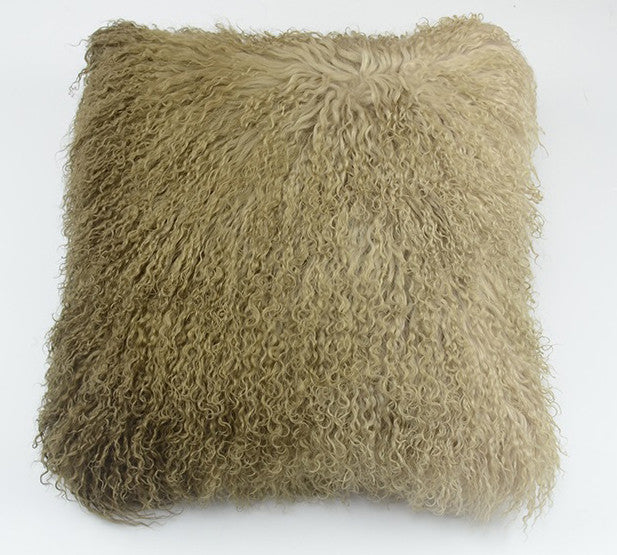 "Tibetan/Mongolian Lamb  Fur Pillow Cover - Ombre(16"")"
