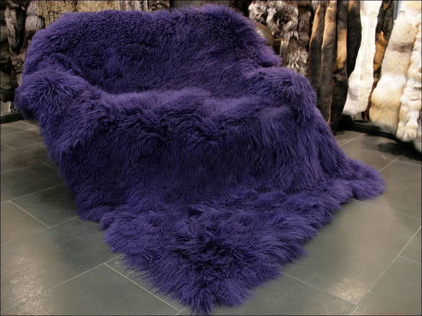 6' x 8' Tibetan / Mongolian Lamb Fur Rug - Dark Purple