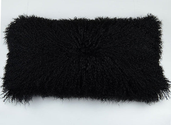 "Tibetan/Mongolian Lamb Fur Pillow Cover -  Black (11""X22"")"