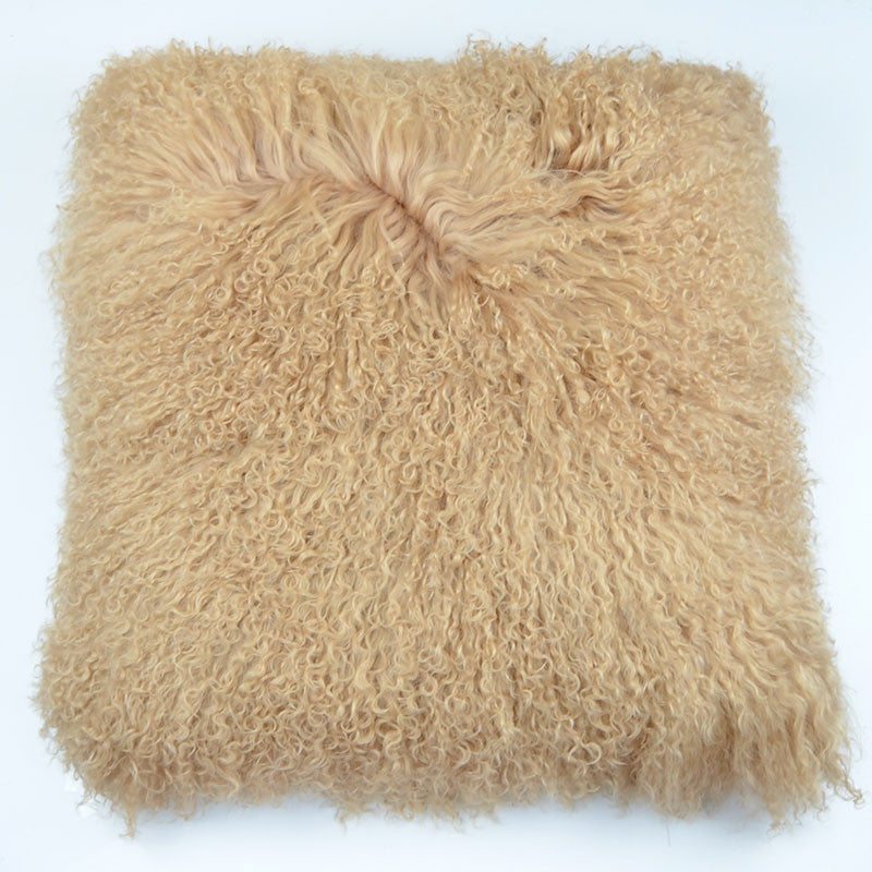 "Tibetan/Mongolian Lamb  Fur Pillow Cover - Dark Beige(26"")"