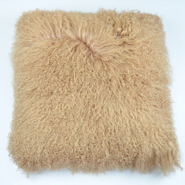 "Tibetan/Mongolian Lamb  Fur Pillow Cover - Dark Beige (22"")"
