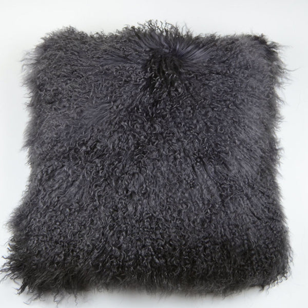 "Tibetan/Mongolian Lamb  Fur Pillow Cover - Dark Gray (22"")"