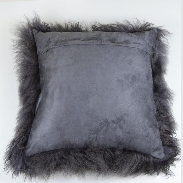 "Tibetan/Mongolian Lamb  Fur Pillow Cover - Dark Gray (20"")"