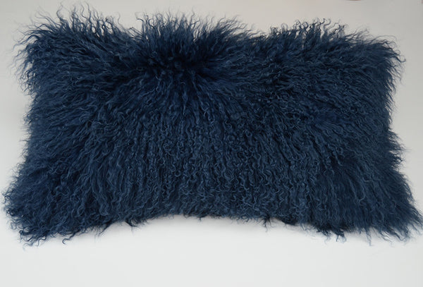 "Tibetan/Mongolian Lamb Fur Pillow Cover -  Velvet Ink  (11""X22"")"