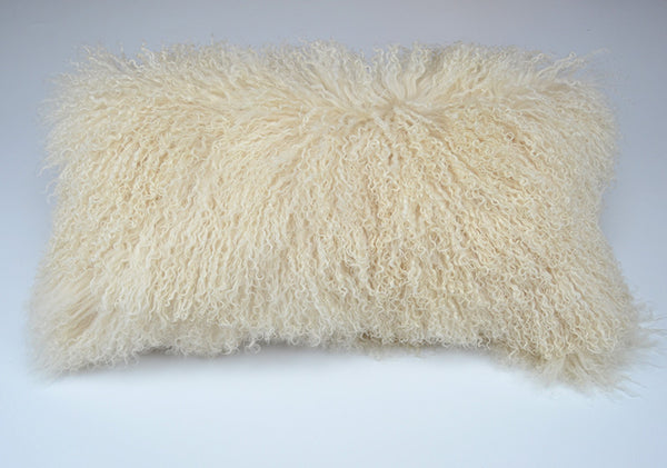 "Tibetan/Mongolian Lamb  Fur Pillow Cover - Light Beige (11""X22"")"