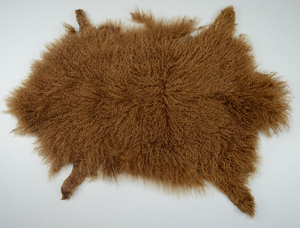Real Genuine Mongolian Tibetan Lamb Long Fur Whole Pelt Plate - Camel