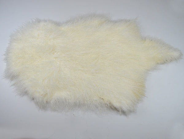 Real Genuine Mongolian Tibetan Lamb Long Fur Whole Pelt Plate - Natural White