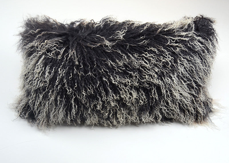 "Tibetan/Mongolian Lamb  Fur Pillow Cover - Frosted Gray (11""X22"")"