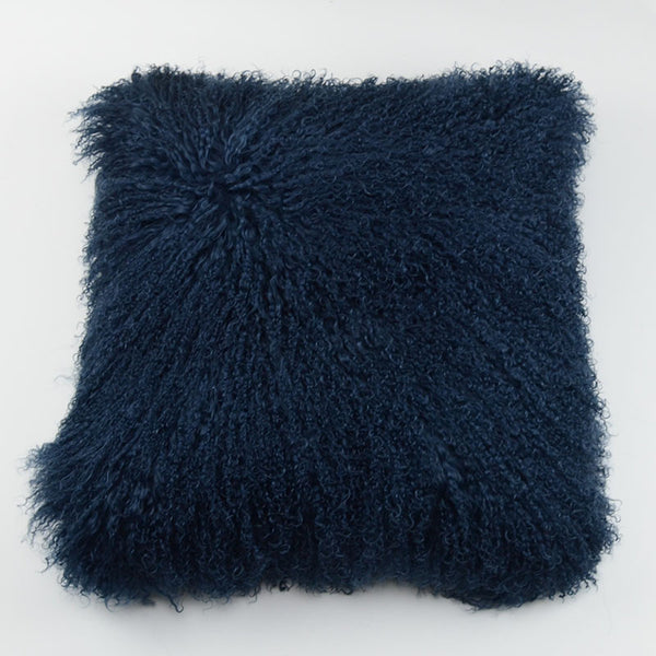 "Tibetan/Mongolian Lamb Fur Pillow Cover - Velvet Ink (20"")"