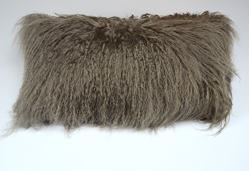 "Tibetan/Mongolian Lamb  Fur Pillow Cover - Khaki (11""X22"")"