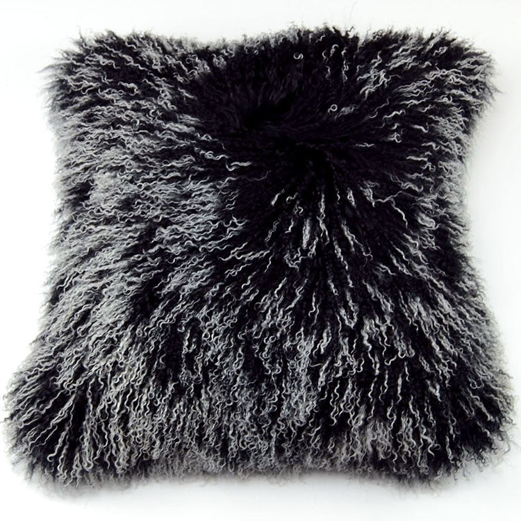 "Tibetan/Mongolian Lamb  Fur Pillow Cover - Frosted Black (18"")"