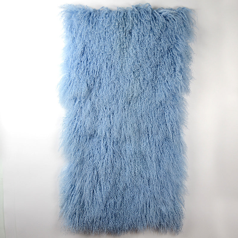 Tibetan / Mongolian Lamb Fur Throw - Light Blue