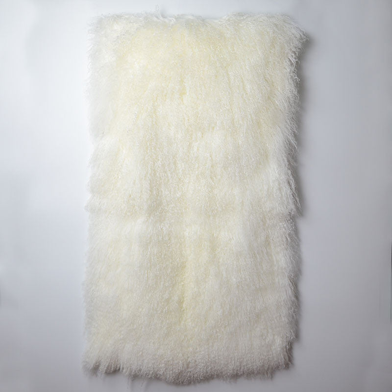 Tibetan / Mongolian Lamb Fur Throw - Off White