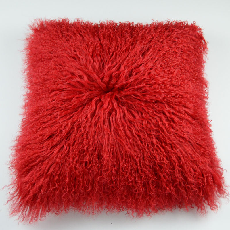 "Tibetan/Mongolian Lamb  Fur Pillow Cover - Red (22"")"