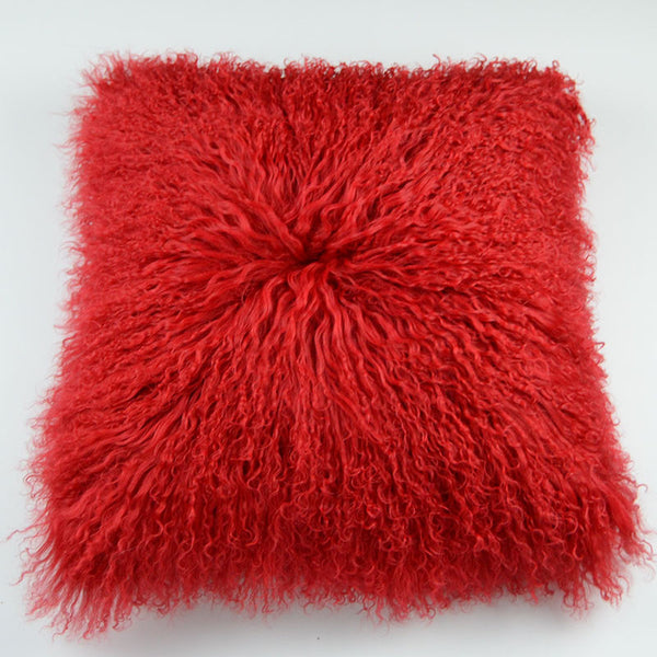"Tibetan/Mongolian Lamb   Fur Pillow Cover - Red (18"")"