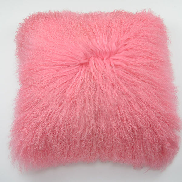 "Tibetan/Mongolian Lamb  Fur Pillow Cover - Rosette (20"")"