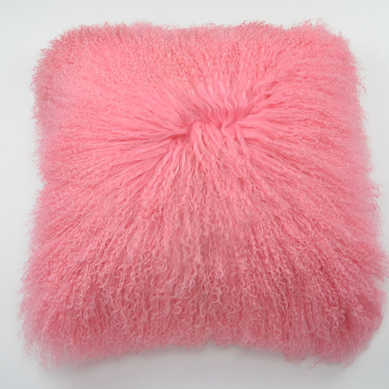 "Tibetan/Mongolian Lamb  Fur Pillow Cover - Rosette (22"")"