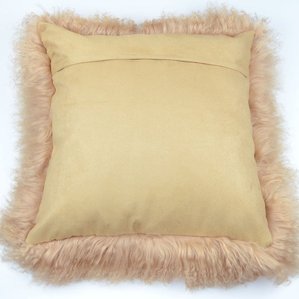 "Tibetan/Mongolian Lamb  Fur Pillow Cover - Dark Beige (24"")"