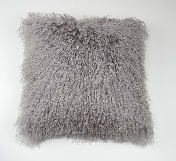 "Tibetan/Mongolian Lamb  Fur Pillow Cover - Grey (16"")"