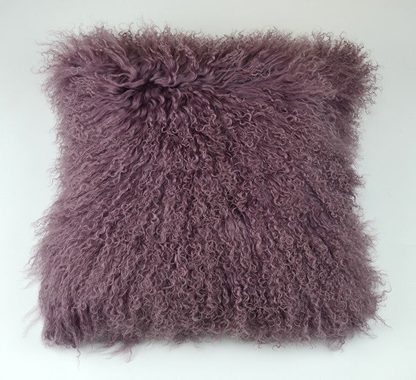 "Tibetan/Mongolian Lamb  Fur Pillow Cover - Light Purple (16"")"