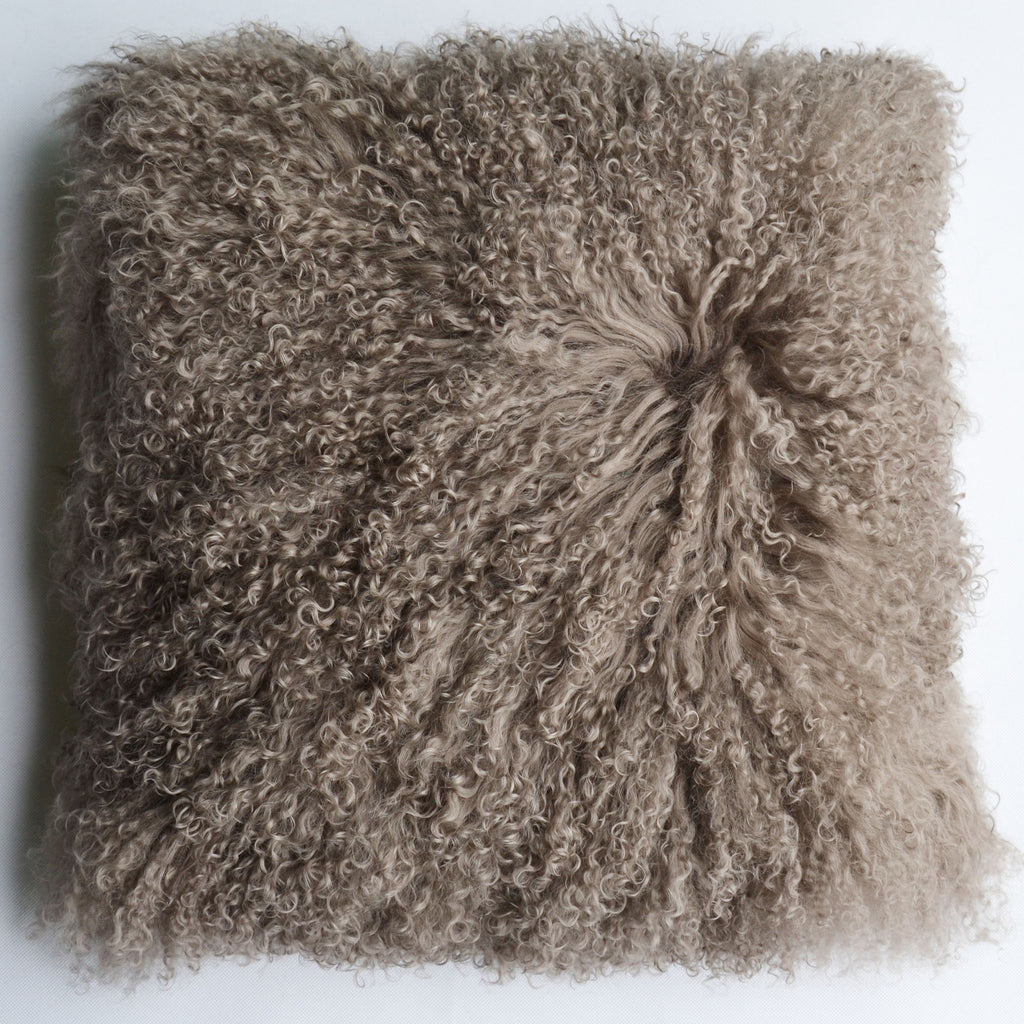 "Tibetan/Mongolian Lamb  Fur Pillow Cover - khaki (18"")"