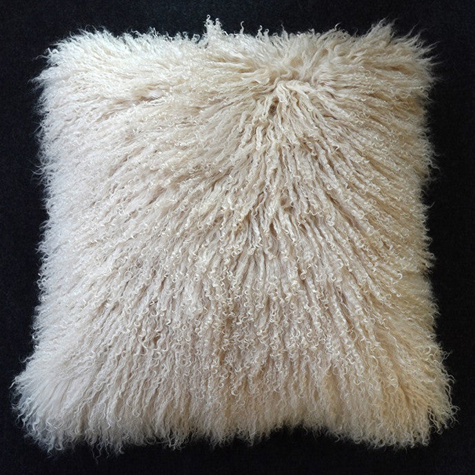 "Tibetan/Mongolian Lamb  Fur Pillow Cover - Dark Beige (26"")"