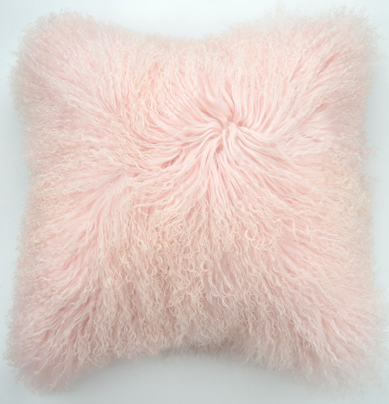 "Tibetan/Mongolian Lamb Fur Pillow Cover - Baby Pink (18"")"