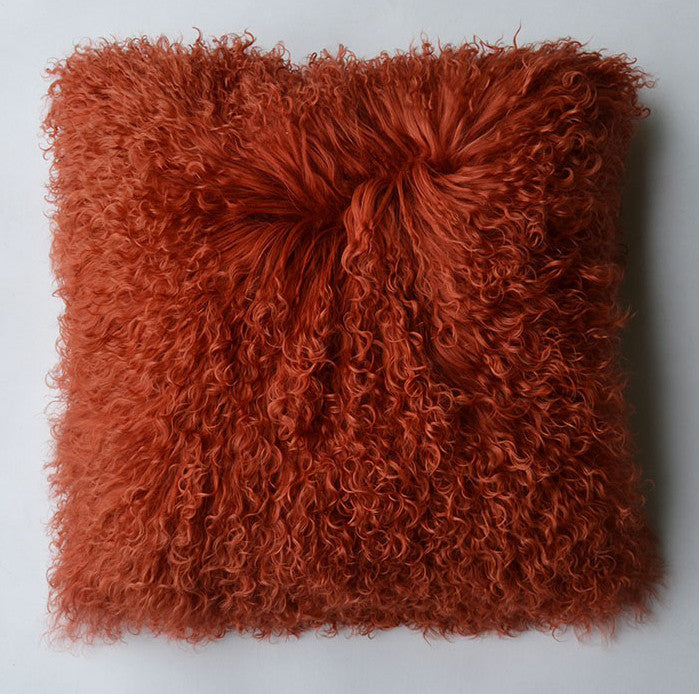 "Tibetan/Mongolian Lamb  Fur Pillow Cover - Rusty Red (18"")"