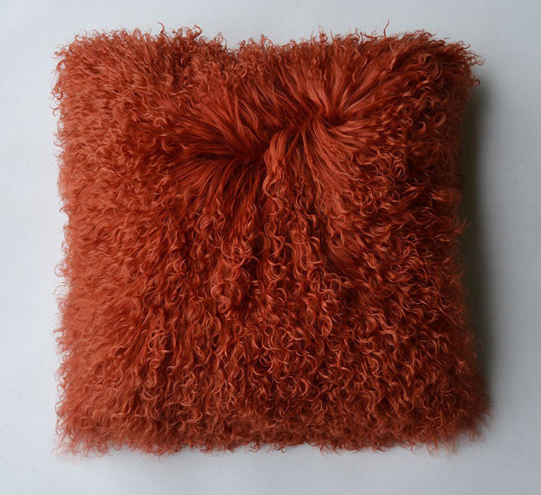 "Tibetan/Mongolian Lamb  Fur Pillow Cover - Rusty Red (16"")"