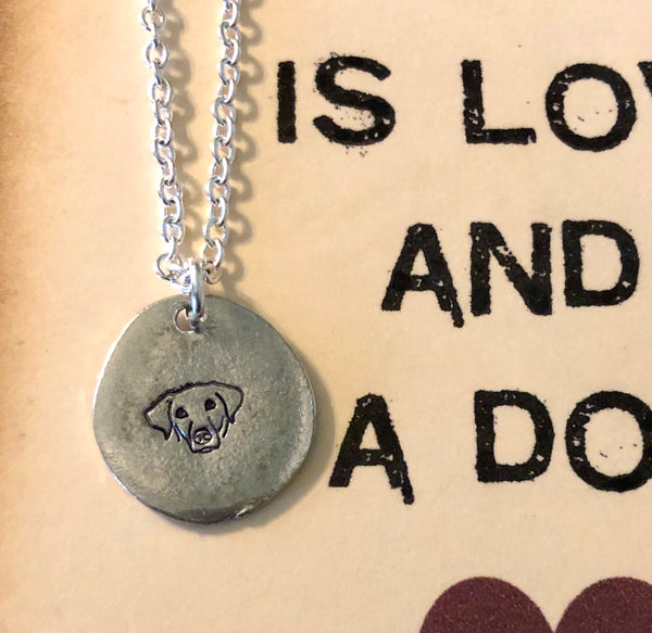 Dog Necklace with Vintage Tag