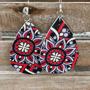 Red & Black Leather Earrings