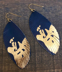 Navy & Gold Feathers