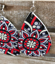 Load image into Gallery viewer, Red & Black Leather Earrings