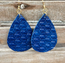 Load image into Gallery viewer, Blue Leather Earrings