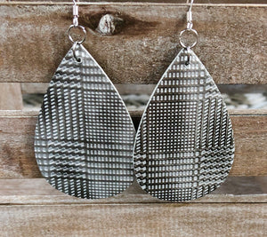 Leather Earrings-Houndstooth