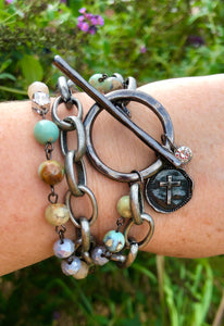 Gunmetal Cross with Blue Agate
